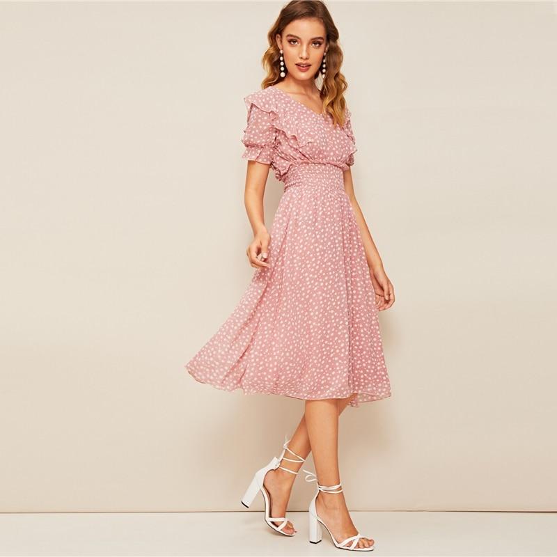 Women's Pink Ruffled Shirred Waist Dress